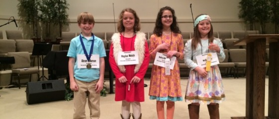 3rd Grade: Abram Wilkerson-1st place, Haylee Welch-2nd place, Audrey Blackwelder-3rd place, Mollie Pierce-4th place
